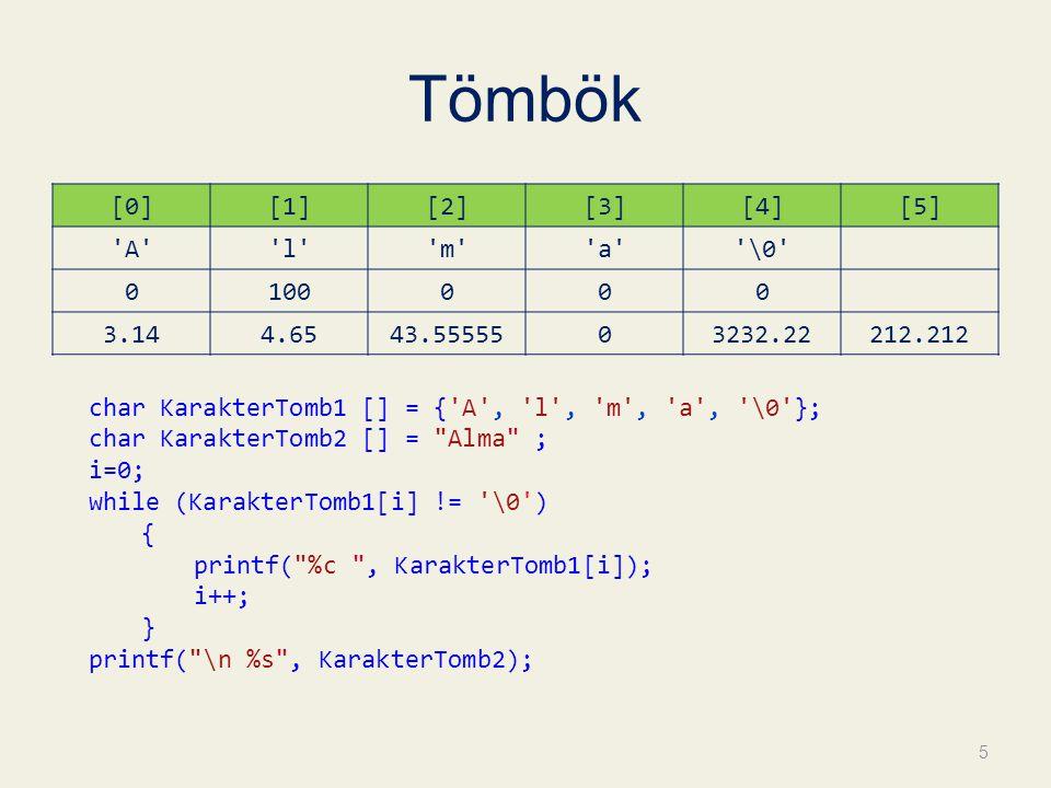 Tömbök [0] [1] [2] [3] [4] [5] A l m a \0 100 3.14 4.65